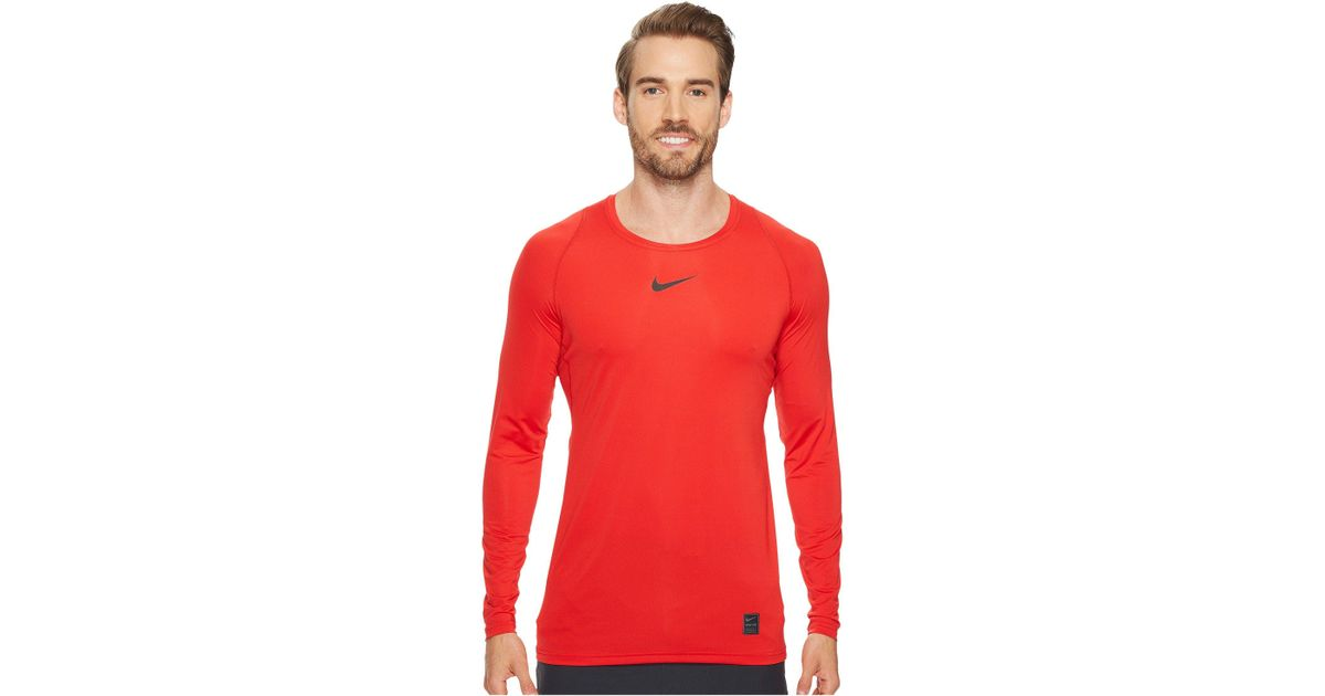 2f33d8bf Nike Pro Fitted Long Sleeve Training Top (university Red/black/black) Long  Sleeve Pullover in Red for Men - Save 20% - Lyst