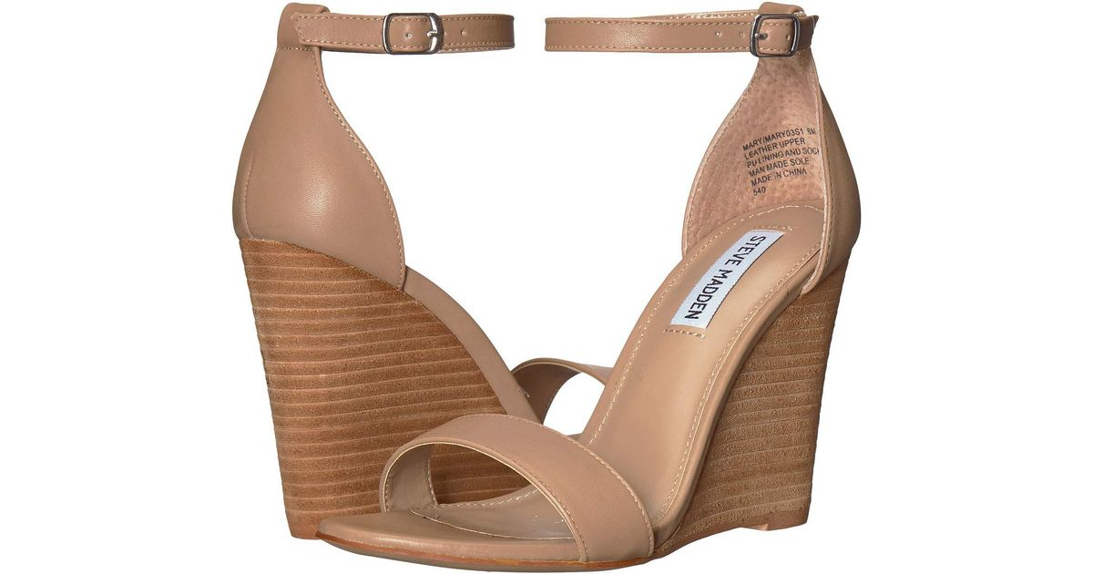 709f67d872c Lyst - Steve Madden Mary Wedge Sandal (black Suede) Women s Sandals in  Natural - Save 22%