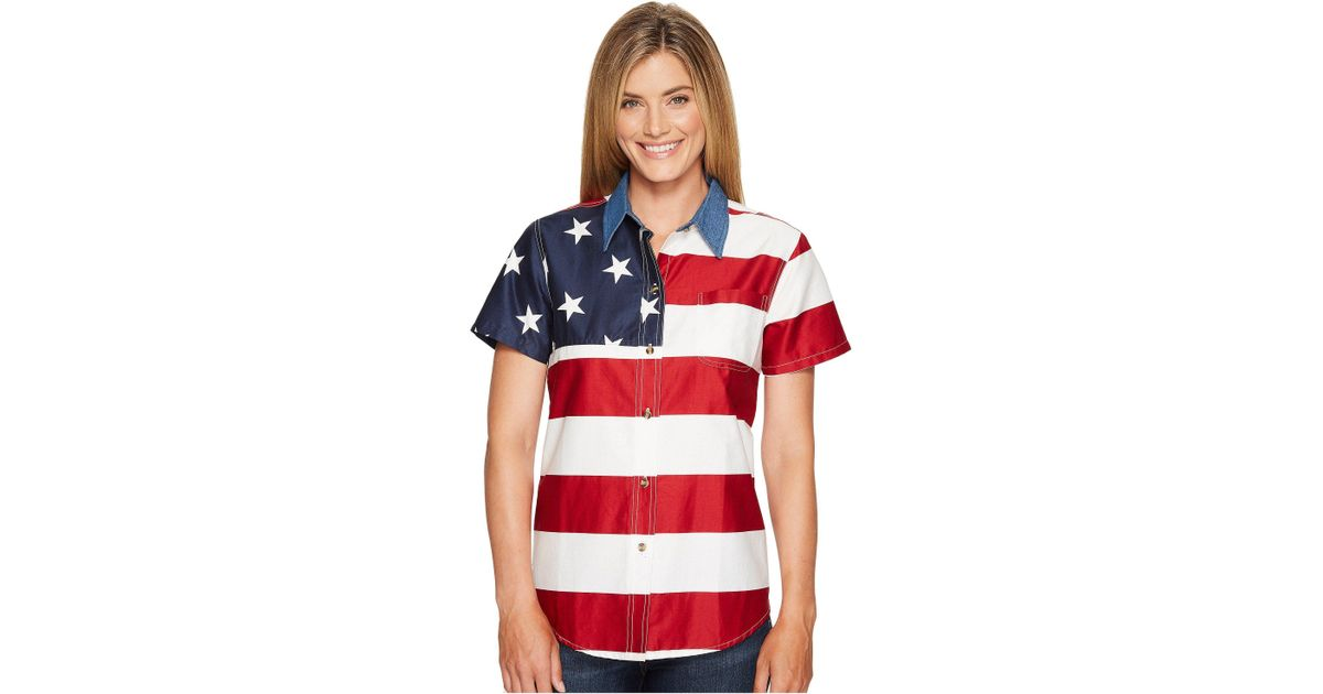 b76682b2 Roper - S/s Stars And Stripes Pieced Flag (red) Women's Short Sleeve Button  Up - Lyst
