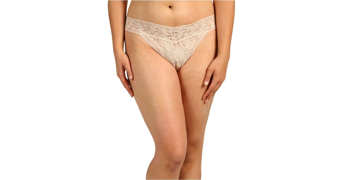62e05c630 Hanky Panky Plus Size Signature Lace Original Rise Thong (black) Women s  Underwear in Natural - Lyst