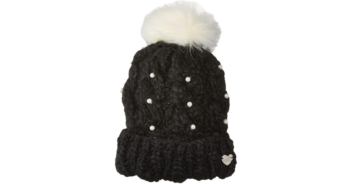 1b67e96720994 Lyst - Betsey Johnson Pearly Girl Cuff Hat in Black