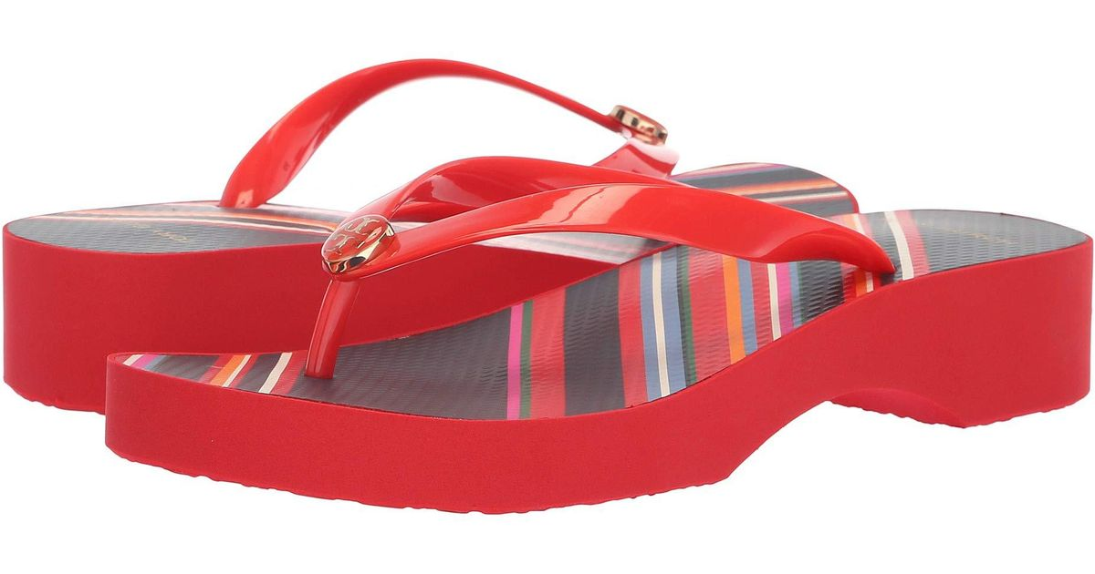 ef64f609e51 Lyst - Tory Burch Wedge Flip-flop (black black 2) Women s Sandals in Red