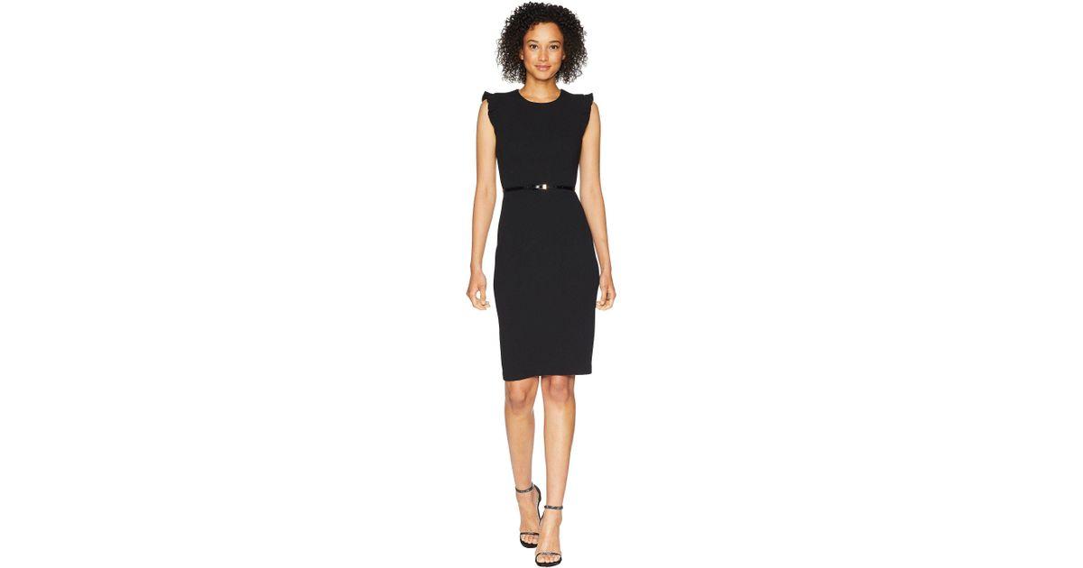676511af Calvin Klein Belted Flutter Sleeve Sheath Dress Cd8c18mw (black) Women's  Dress in Black - Lyst