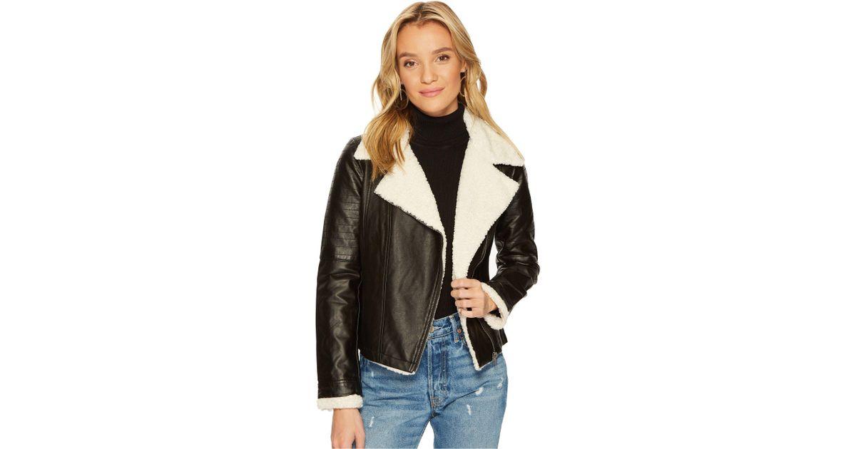 18f89adc463 Jack BB Dakota Lovella Washed Vegan Leather Sherpa Trimmed Jacket in Black  - Lyst