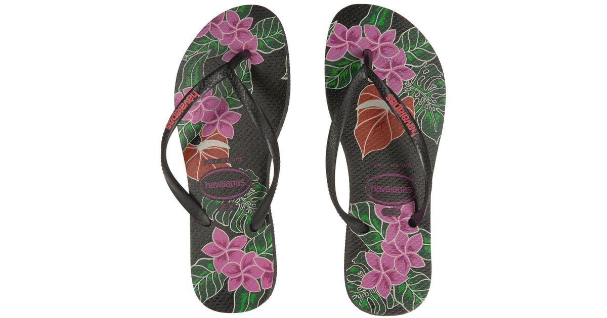 2708236c4 Lyst - Havaianas Slim Floral Flip Flop in Black