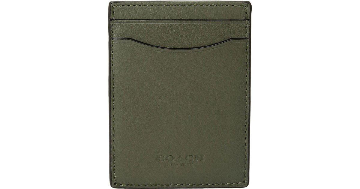 a5a597072c366 Lyst - COACH Sport Calf 3-in-1 Card Case in Green for Men