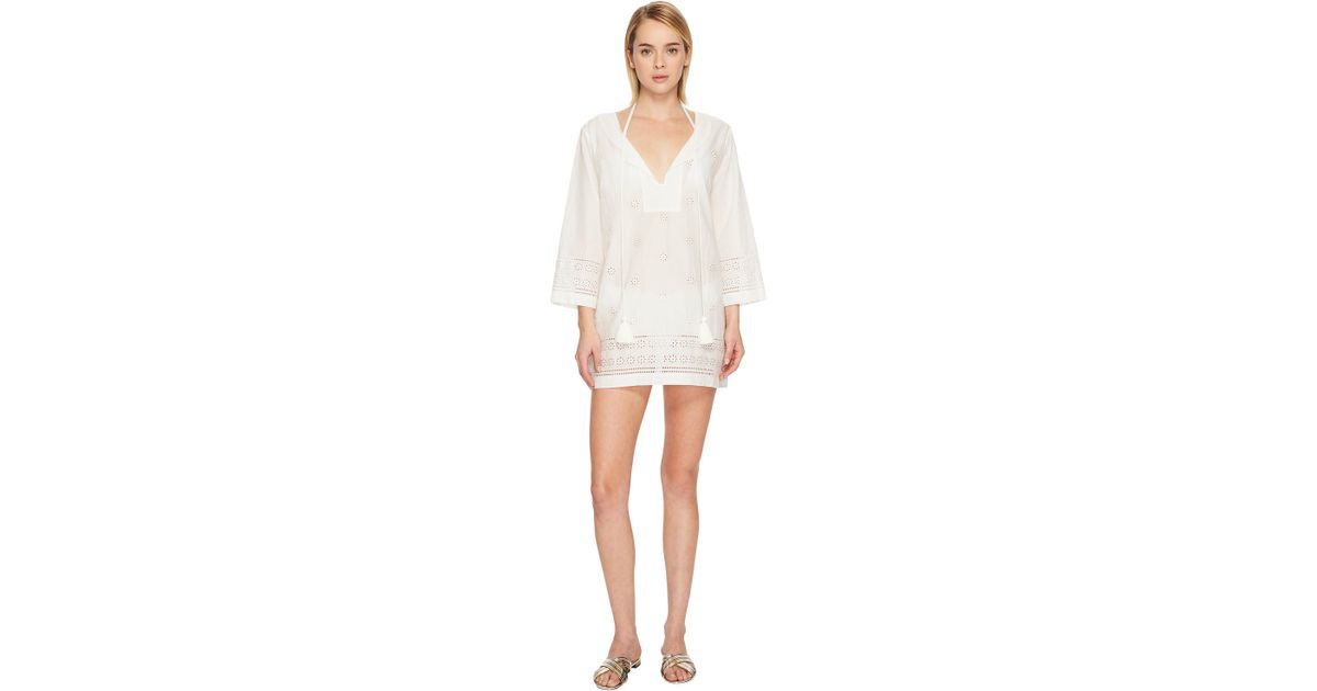 a4a8fd65576 Kate Spade Isla Vista #74 Embroidered Tunic Cover-up in White - Lyst