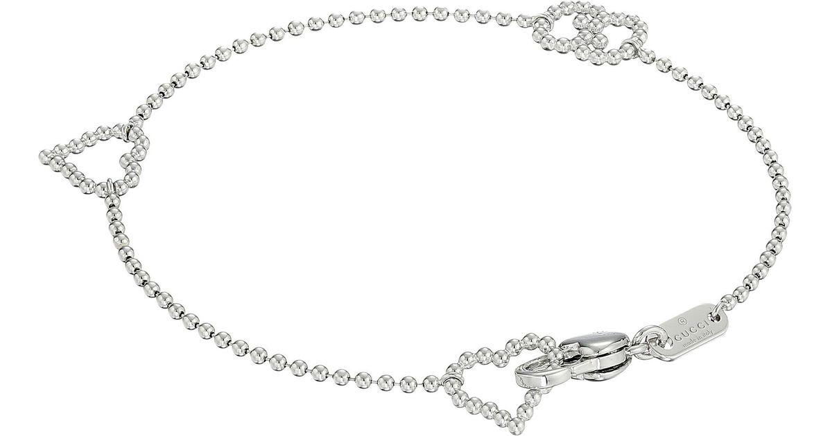7ae2453a4 Gucci Boule Bracelet W/ Open Heart Motif in Metallic - Lyst