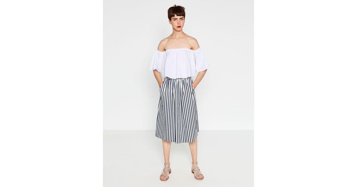 zara pleated midi skirt in white ecru blue lyst