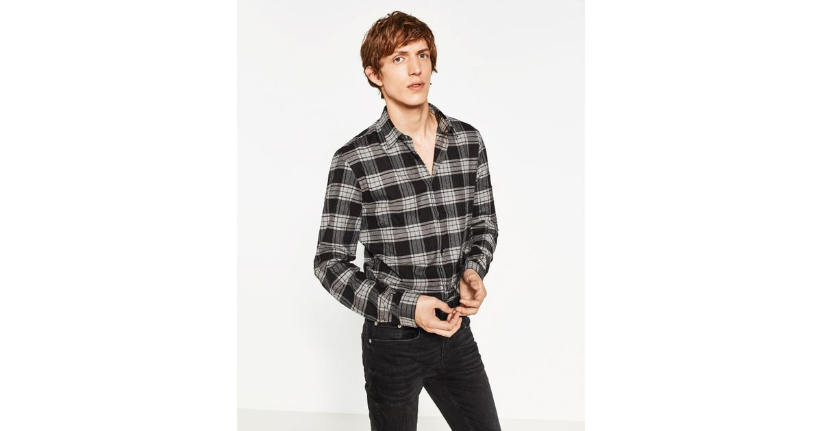 Zara flannel shirt in gray for men lyst for Zara mens shirts sale