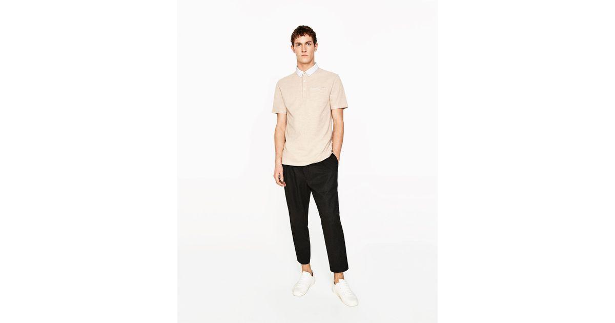 Zara piqu polo shirt for men lyst for Zara mens shirts sale