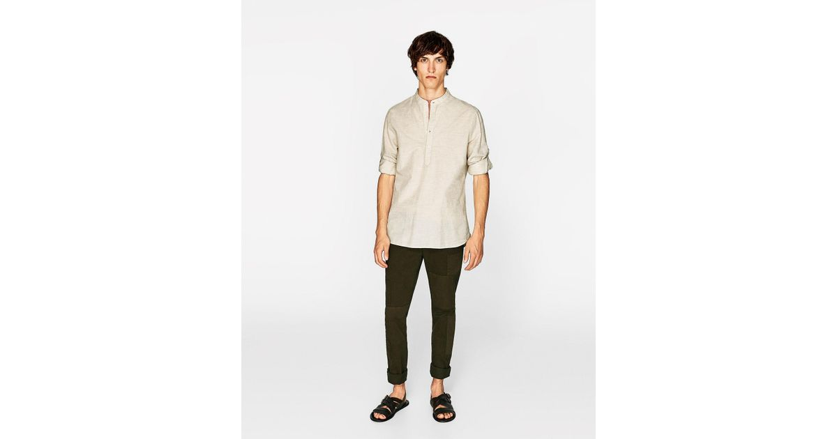 Zara polo neck shirt in natural for men lyst for Zara mens shirts sale