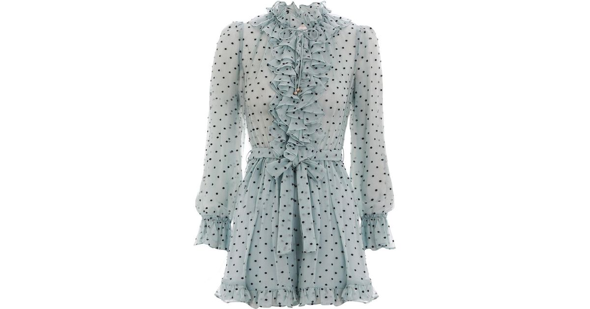 c9dfeaf2b54 Lyst - Zimmermann Whitewave Ruffle Playsuit in Blue
