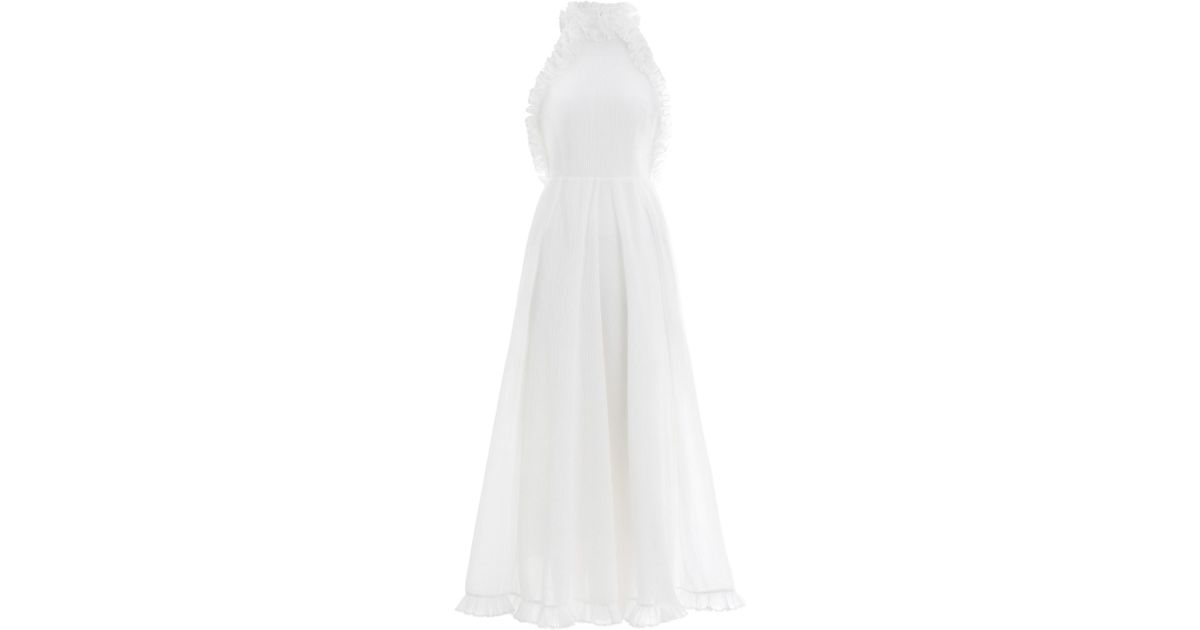 e6f5194900862 Zimmermann Moncur Ruffle Neck Pinafore in White - Lyst