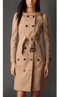 Burberry Long Boat Neck Gabardine Trench Coat - Lyst