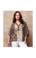 Michael Kors Michael Plus Size Printed Poncho Top