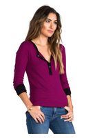 Splendid Mini Black Stripe Thermal Top in Fuchsia - Lyst