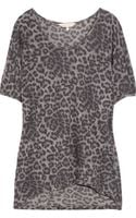 Rebecca Taylor Leopard-print Cotton-blend T-shirt - Lyst