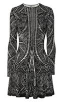 Alexander McQueen Knitted Silk and Wool-blend Intarsia Dress - Lyst