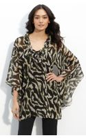 Alberto Makali Sheer Animal Print Tunic
