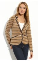 Halogen Stripe Peplum Sweater Jacket
