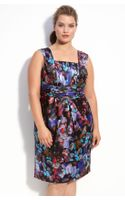 Donna Morgan Pleated Print Dress (plus)