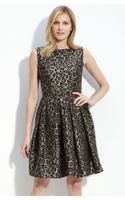 Taylor Dresses Jacquard Fit and Flare Dress