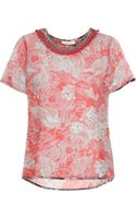 Matthew Williamson Tattoo Printed Silk-chiffon Top