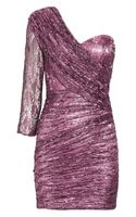 Rare Opulence Ruched Metallic-Lace Dress