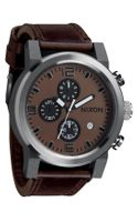 Nixon The Ride Leather Strap Watch