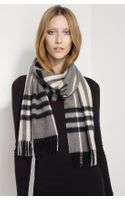 Burberry Giant Check Fringed Cashmere Muffler - Lyst
