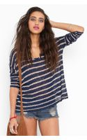 Nasty Gal Stitched Stripe Knit - Navy