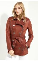 Burberry Brit Double Breasted Leather Coat