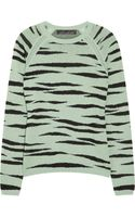 Proenza Schouler Zebra-print Knitted Cotton-blend Sweater