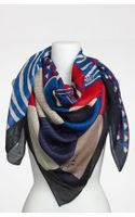 Tory Burch Collage Print Silk & Wool Scarf