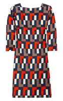 Milly Julia Geometric-print Linen and Silk-blend Dress