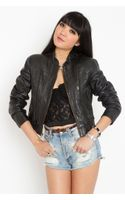 Nasty Gal Leather Bomber Jacket