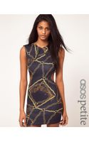 ASOS Collection Asos Petite Exclusive Dress in Chain Print with Cut Out