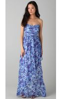 Shoshanna Strapless Printed Maxi Dress