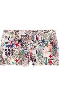Isabel Marant Roxi Embroidered Printed Stretch Denim Shorts