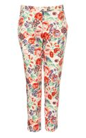 Topshop Coord Rose Print Cigarette Trousers
