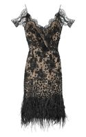 Oscar de la Renta Feather and Sequinembellished Lace Dress