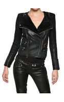 Balmain Shearling Biker Style Leather Jacket