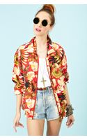 Nasty Gal Palm Print Silk Bomber