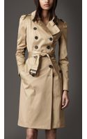 Burberry Long Stretchsatin Trench Coat - Lyst