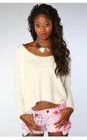 RVCA The Needle Park Cropped Hi Low Sweater in White