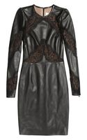 Valentino Lacepaneled Leather Dress