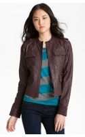 Caslon® Leather Jacket - Lyst