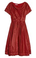 Oscar de la Renta Asymmetric Pleated Silktaffeta Dress - Lyst