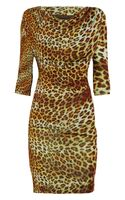 Class Roberto Cavalli Leopardprint Satinjersey Dress